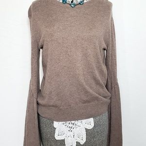 Anthropologie Leith Tan Bell Sleeve Sweater